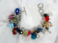 Glass Beaded Cross Charm Bracelet